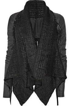 Rick Owens | Leather-sleeved mohair-blend jacket | NET-A-PORTER.COM - StyleSays