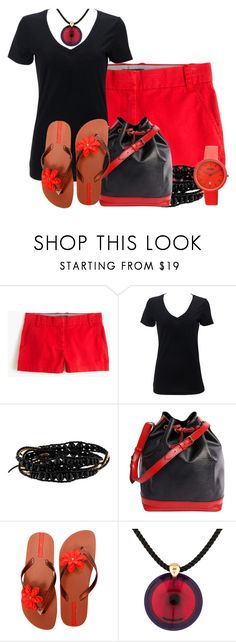 """""""Black and Red"""" by tlb0318 ❤ liked on Polyvore featuring J.Crew, Chan Luu, Louis Vuitton, IPANEMA, Baccarat and Crayo"""