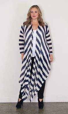 #plussize #navy #white #striped #cardigan at Curvalicious Clothes #bbw #curvy #fullfigured #plussize #thick #beautiful #fashionista #style #fashion #shop #online www.curvaliciousclothes.com TAKE 15% OFF Use code: TAKE15 at checkout