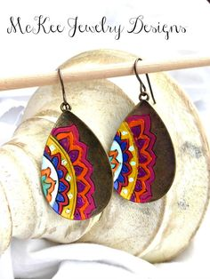 Hand painted bronze mandala flower earrings. McKee Jewelry Designs