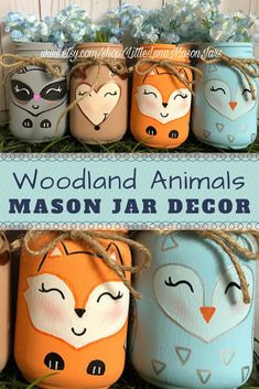 So cute! Set of 4 hand-painted woodland animals mason jars: deer, raccoon, owl and fox. Perfect for nursery, baby shower or kids room | Mason Jar Decor #ad