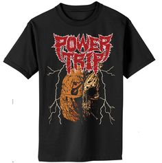Power Trip - Manifest Decimation Shirt from Power Trip Band Shirts, Tee Shirts, Power Trip, Skull Shirts, Direct To Garment Printer, Shirt Style, Prints, Mens Tops, Stuff To Buy