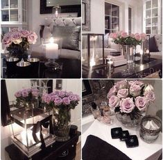 Adding roses adds a colour pop to black and white and grey rooms (diy apartment decor chic) Living Room Decor, Bedroom Decor, Deco Rose, Decoration Chic, Interior Decorating, Interior Design, Interior Ideas, Deco Table, My Room