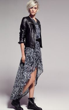 The leather jacket gives this feminine dress an edge