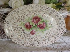 VINTAGE SHABBY CHIC ROSES PLATTER by BUTTERCUPGARDEN on Etsy, $15.00