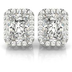 Allurez Emerald Cut Diamond Halo Earrings 14k White Gold (2.42ct) (€5.300) ❤ liked on Polyvore featuring jewelry, earrings, white gold jewelry, white gold jewellery, clear crystal earrings, 14 karat white gold earrings and white gold earrings