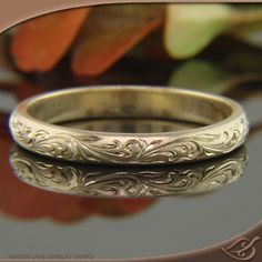 Scroll Hand Engraved Band