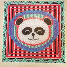 Panda Hama perler bead art  by Lisa Haulrik