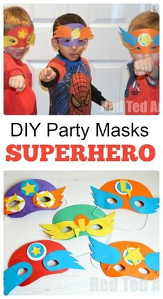 Superhero Masks (+ Template) - Party Activity Superhero Party Masks - simple Party Craft that the kids will love to make Diy Party Mask, Diy Mask, Easy Crafts For Kids, Diy For Kids, Superhero Mask Template, Hero Crafts, Disney Fantasy, Fathers Day Crafts, Mask For Kids
