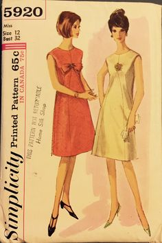Vintage 5920 Simplicity (1965)  Size 12 Bust 32 Note: Todays size 12 pattern has a 34 bust  Collarless and sleeveless, A Line dress with optional lining has shaped front inset, back zipper closing, round neckline and optional bow trim.  Pattern is complete with instructions. It appears to have been gently used and is in excellent vintage condition.  Envelope is clean, intact with clear graphics. It has minor storage wear. Please see pics. Please contact me with questions.  Enjoy