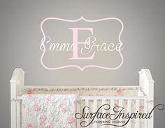 Name Wall Decal - Emma Grace Monogram Wall Decal for Nursery - Custom wall words 540
