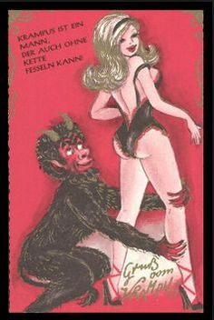 Racy vintage postcards from Germany of Krampus cavorting with sexy chicks & she-devils Vintage Halloween, Vintage Christmas, Country Christmas, Christmas Christmas, Dark Fantasy, Fantasy Art, Vintage Magazine, Erotic Art, Vintage Postcards