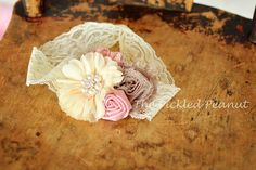 Chiffon Lace and Satin Pink Ivory Cream and by ThePickledPeanut, $12.99