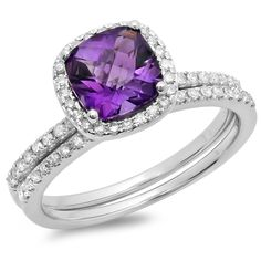 18K Gold Cushion Cut Amethyst and Round White Diamond Halo Engagement Ring Set -- Trust me, this is great! Click the image. : Engagement Rings Jewelry