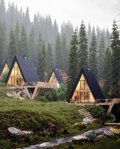 A Frame House Plans, A Frame Cabin, Tiny House Design, Modern House Design, Cabin Design, Mountain Cottage, Forest Mountain, Cabin In The Woods, Beaux Villages