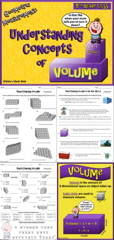 This is a complete 5th grade CCSS that covers Understanding Concepts of Volume. The fun bundled lesson includes a very interactive PowerPoint, 7 practice pages, 2 page comprehensive assessment, anchor charts (color and black and white), etc. Mike's Math Mall - $