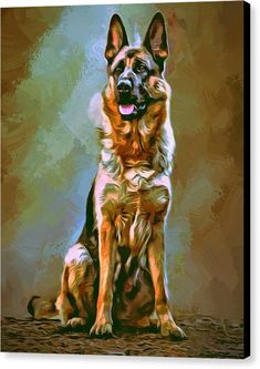 German Shepherd Canvas Print featuring the painting German Shepherd Painting by Scott Wallace