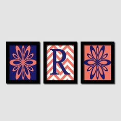 Bold Initial Chevron Abstract Flower Burst Artwork Navy Coral Set of 3 Prints Modern Home Teen Girl Decor Wall Art Nursery Bedding Picture on Etsy, $25.00