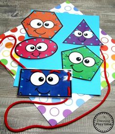 Preschool Shapes Activities – Lacing Shapes Cards - Kids education and learning acts Preschool Learning Activities, Toddler Activities, Preschool Activities, Kids Learning, Preschool Shapes, 2d Shapes Activities, Preschool Centers, Learning Spanish, Lacing Cards