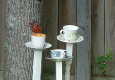 To make one bird feeder you simply need to glue the cup to the saucer and the saucer to the pole using adhesive suitable for outdoor use. You can also drill a hole in the bottom of the cup to drain the water and paint the pole in your favorite color to make the bird feeder looks even more cool. Although these things aren't really necessary so the project can be done in a matter of minutes.