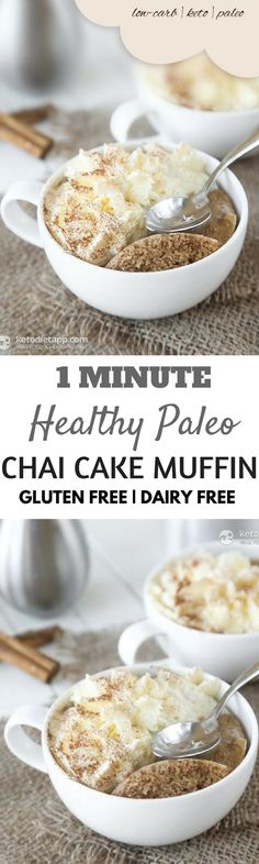 One minute Paleo Mug Muffin recipe round up! A compilation of the top paleo mug muffins made in under 1 minute! Paleo Muffin Recipes, Mug Recipes, Gluten Free Recipes, Microwave Recipes, Paleo Food, Paleo Dessert, Healthy Dessert Recipes, Desserts, Sin Gluten