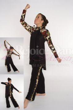 Camouflage 3 Way Wrap w/Narrow Camouflage Strip - Praise & Worship Dance Wear