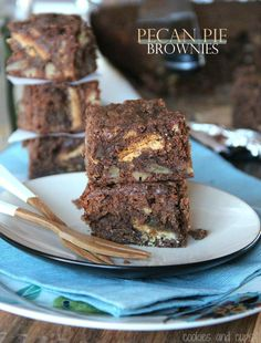 Pecan Pie Brownies!  A whole pecan pie chopped up and baked right in!  Crust and all!