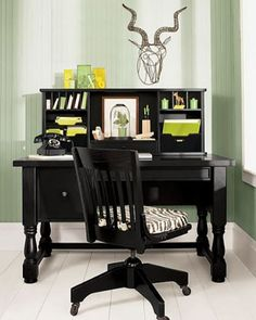 50 Home Office Furniture Image Ideas - How To Arrange One - CasaNesia, Black Furniture, Home Office Furniture, Furniture For You, Furniture Ideas, Home Office Design, Home Office Decor, House Design, Workplace Design, Home Decor