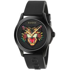 Gucci G-Timeless Black Leather Angry Cat Motif Watch ($890) ❤ liked on Polyvore featuring jewelry, watches, cat wrist watch, gucci jewellery, leather watches, gucci wrist watch and logo watches