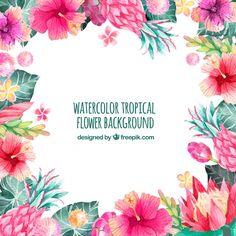 熱帯の水彩花の背景