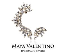 Rose gold ear cuff Bridal ear cuff Amazing ear by MayaValentino Prom Earrings, Prom Jewelry, Jewelry Model, Cuff Earrings, Wedding Earrings, Bridesmaid Jewelry, Charm Jewelry, Wedding Jewelry, Climbing Earrings