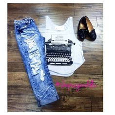 machine jeans outfit | ig: sugardollz | ripped distressed destructed denim inspiration laydown