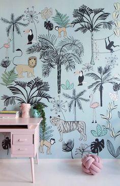 New Baby Wallpaper Girl Beds Ideas Baby Wallpaper, Kids Room Wallpaper, Bedroom Color Schemes, Bedroom Colors, Girl Nursery, Girls Bedroom, Baby Room Decor, Bedroom Decor, Kids Decor