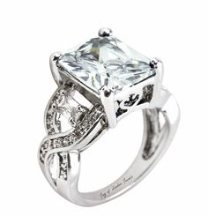 Vintage Style 7CT Emerald Cut Russian Lab Diamond Accents Twist Ring