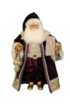 The Royal Elegance Santa statue is a perfect decorative accent for your Christmas celebration this year. This jolly figurine comes dressed in regal jeweled velvet robes and a hat, ready to spread good will and Christmas cheer to your whole family. Old World Christmas, Father Christmas, Handmade Christmas, Christmas Scenes, Christmas Holiday, Christmas Ornaments, Holiday Decor, Mark Roberts Fairies, Santa Figurines