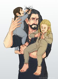 fili and kili getting some braiding practice on uncle thorin's hair