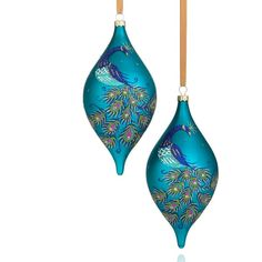 Holiday Lane Set of 2 Peacock Drop Ornaments ($16) found on Polyvore featuring home, home decor, holiday decorations, christmas, holiday, no color, xmas tree ornaments, glass christmas ornaments, christmas holiday decor and peacock ornaments