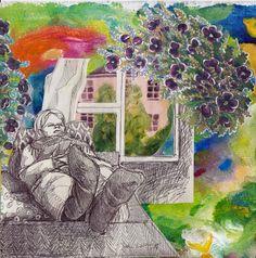 By: Satu Laaninen  Herkkupurkki: kollaasi, pikkukimalainen.blogspot.com  drawing, portrait, resting