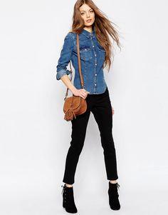 Denim - Camicia di jeans aderente stile western lavaggio medio d867742574e