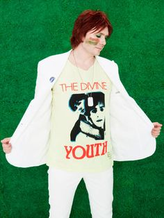 Nicky Wire of Manic Street Preachers in his own band's t-shirt