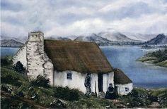 Old Irish Cottage Irish Cottage Decor, Cottage Art, Cottage Homes, Welsh Cottage, Cottage Kitchens, Houses In Ireland, Cottages By The Sea, Irish Landscape, Ireland Travel