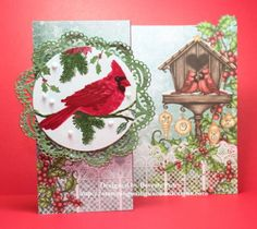 Guneaux Designs Heartfelt Creations Festive Holly Cardinal