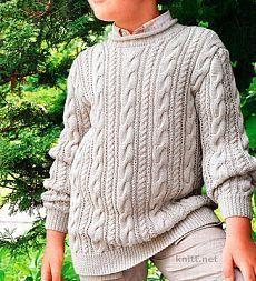 Свитер с рельефным узором для мальчика   knitt.net   Все о вязании