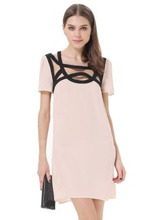 Pink Short Sleeve Hollow Loose Chiffon Dress \