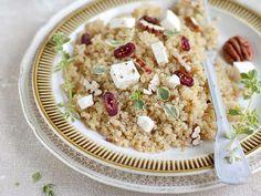 Grandma Pam's Kitchen: Quinoa, Pecan, and Cranberry Salad Couscous Quinoa, Vegan Gluten Free, Vegan Vegetarian, Cranberry Salad, Jus D'orange, Pecan, Side Dishes, Salads, Snacks