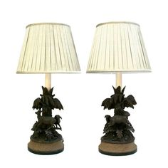 Pair of Black Forest Animalier Lamps, circa 1880 1