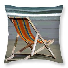 This original, realistic art painting of a scenic landscape    of a relaxing beach chair set by the waves at the ocean edge ready for you to dip your feet in the gentle waves  will look fantastic in any room of your home. Great   accessories can turn a plain room into a   stunning one.   Throw pillows are an economical way   to offer a lot of   decorating punch.  All of the   pillows in this collection   are original designs   by a professional artist, printed on   both sides.