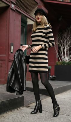 30 DRESSES IN 30 DAYS: Weekend Brunch // Black and tan striped turtleneck sweater, classic black leather jacket, black baker boy hat, oversized striped blanket scarf and black ring ankle boots {J Crew, Gucci, Mango, what to wear to brunch, casual brunch, casual weekend style, weekend style, fashion blogger, classic style, sweater dress, winter style}