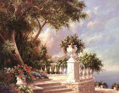Balcony At Lake Como Poster Print by Art Fronckowiak (28 x 22) - Item # P07AB52118V - Posterazzi