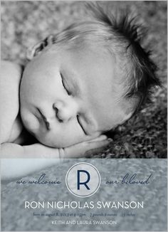 Frosted Monogram Boy Birth Announcement